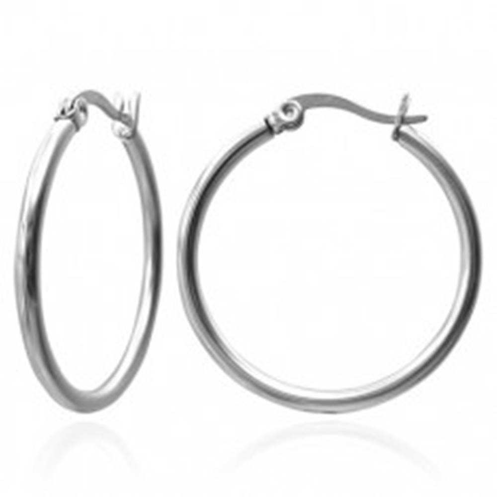 Šperky eshop Náušnice z ocele 316L - kruhy striebornej farby, 20 mm