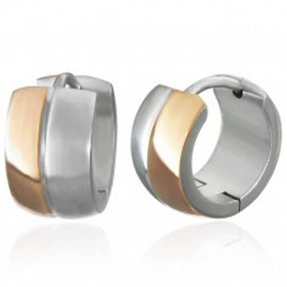 Šperky eshop Náušnice z ocele 316L medeno-striebornej farby, zaoblené obruče