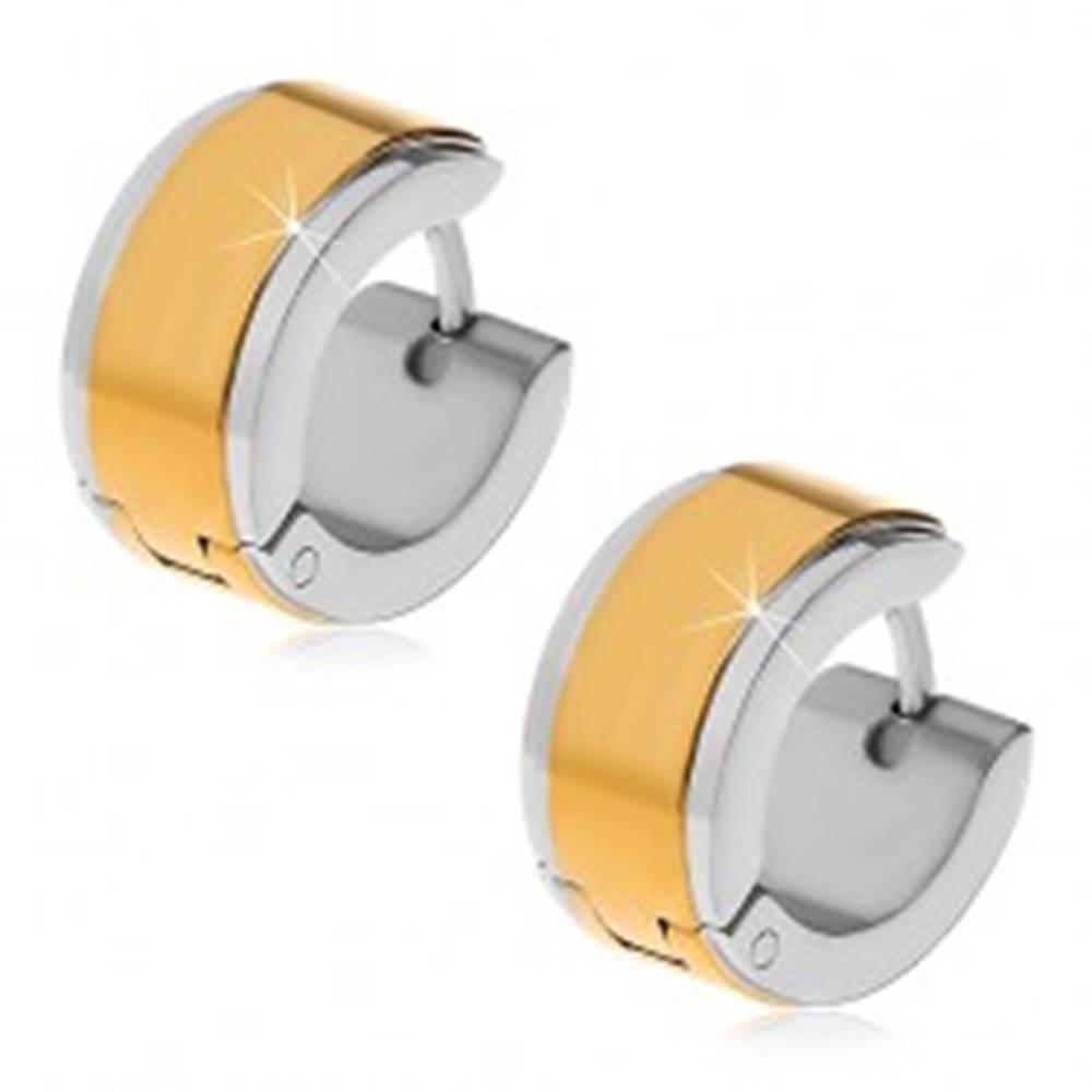 Šperky eshop Náušnice z ocele 316L - obruče so stredovým pásom zlatej farby
