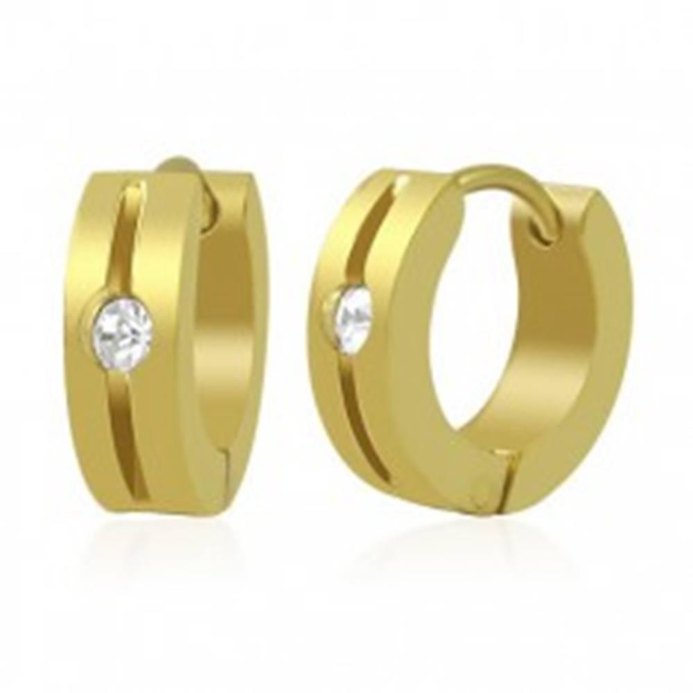 Šperky eshop Náušnice z ocele 316L - obruče zlatej farby so zárezom a čírym zirkónom