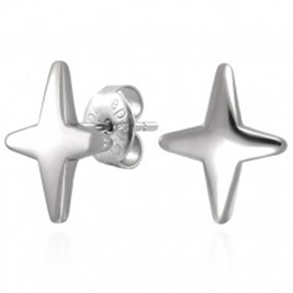 Šperky eshop Náušnice z ocele 316L v striebornom odtieni - hviezda