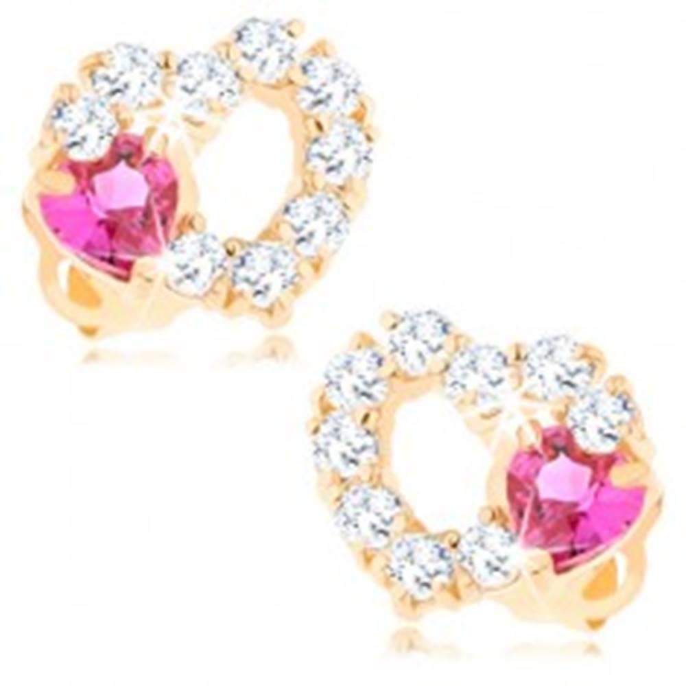Šperky eshop Náušnice zo 14K zlata - obrys srdca s čírymi zirkónmi a ružovým srdiečkom