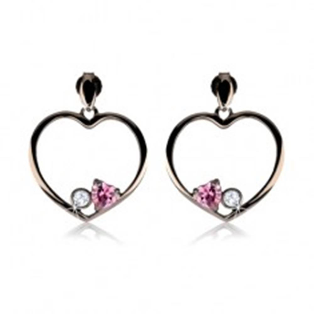 Šperky eshop Náušnice zo striebra 925, oceľovo sivý obrys srdca, ružové srdce, číry zirkón