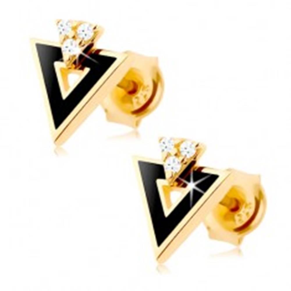 Šperky eshop Náušnice zo žltého 14K zlata - čierny trojuholník s výrezom, číre zirkóniky