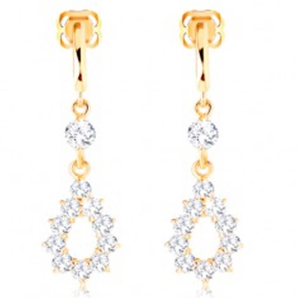 Šperky eshop Náušnice zo žltého 14K zlata - visiaci obrys slzy z čírych zirkónov, puzetky