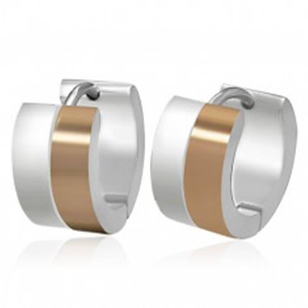 Šperky eshop Oceľové kĺbové náušnice - obruče medeno-striebornej farby