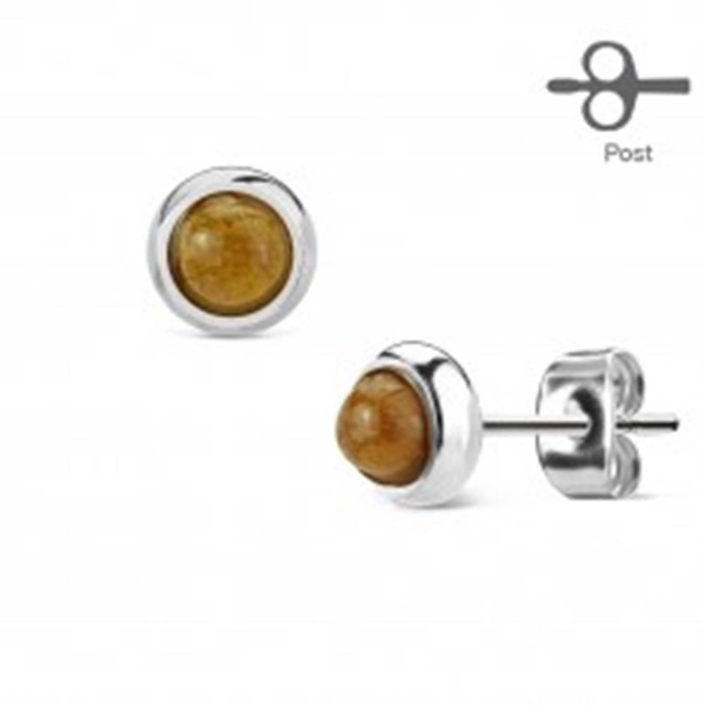 Šperky eshop Oceľové náušnice s puzetovým zapínaním a hnedým tigrím okom