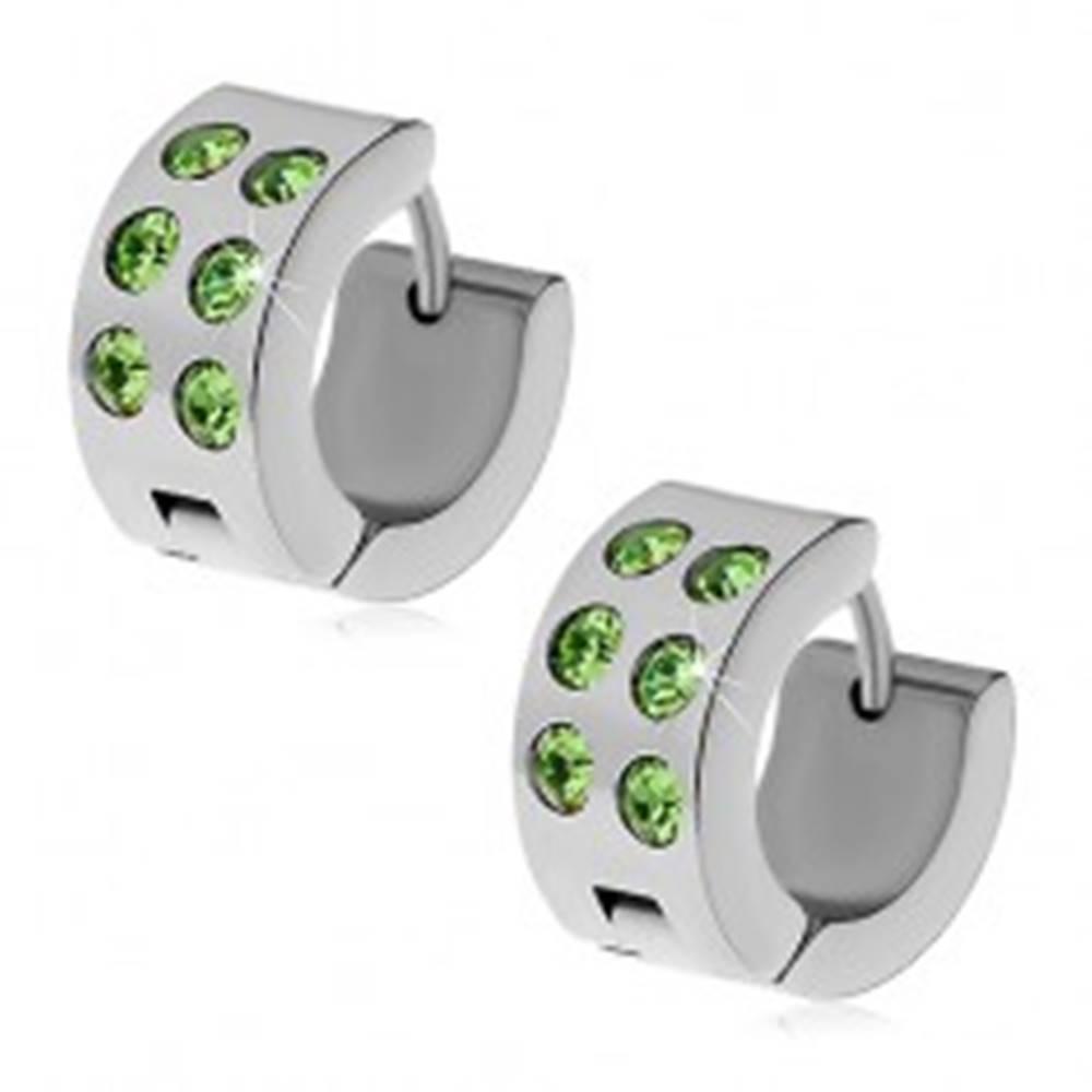 Šperky eshop Oceľové náušnice striebornej farby - obruče so zelenými zirkónmi
