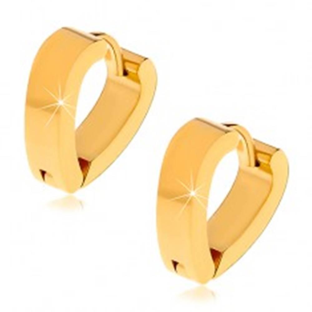 Šperky eshop Oceľové náušnice v tvare srdca, zlatý odtieň, kĺbové zapínanie
