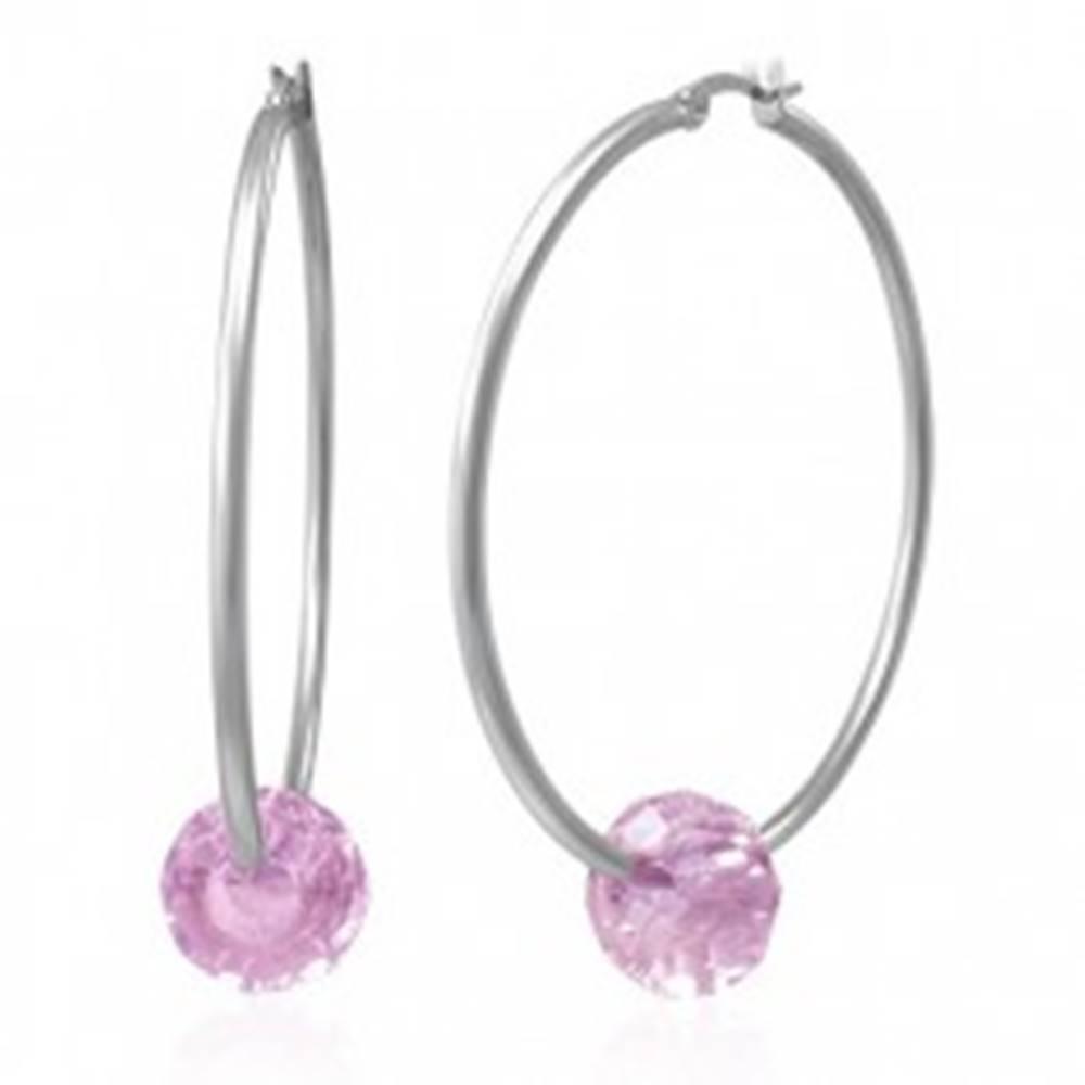Šperky eshop Oceľové náušnice - veľké kruhy striebornej farby s ružovou brúsenou korálkou