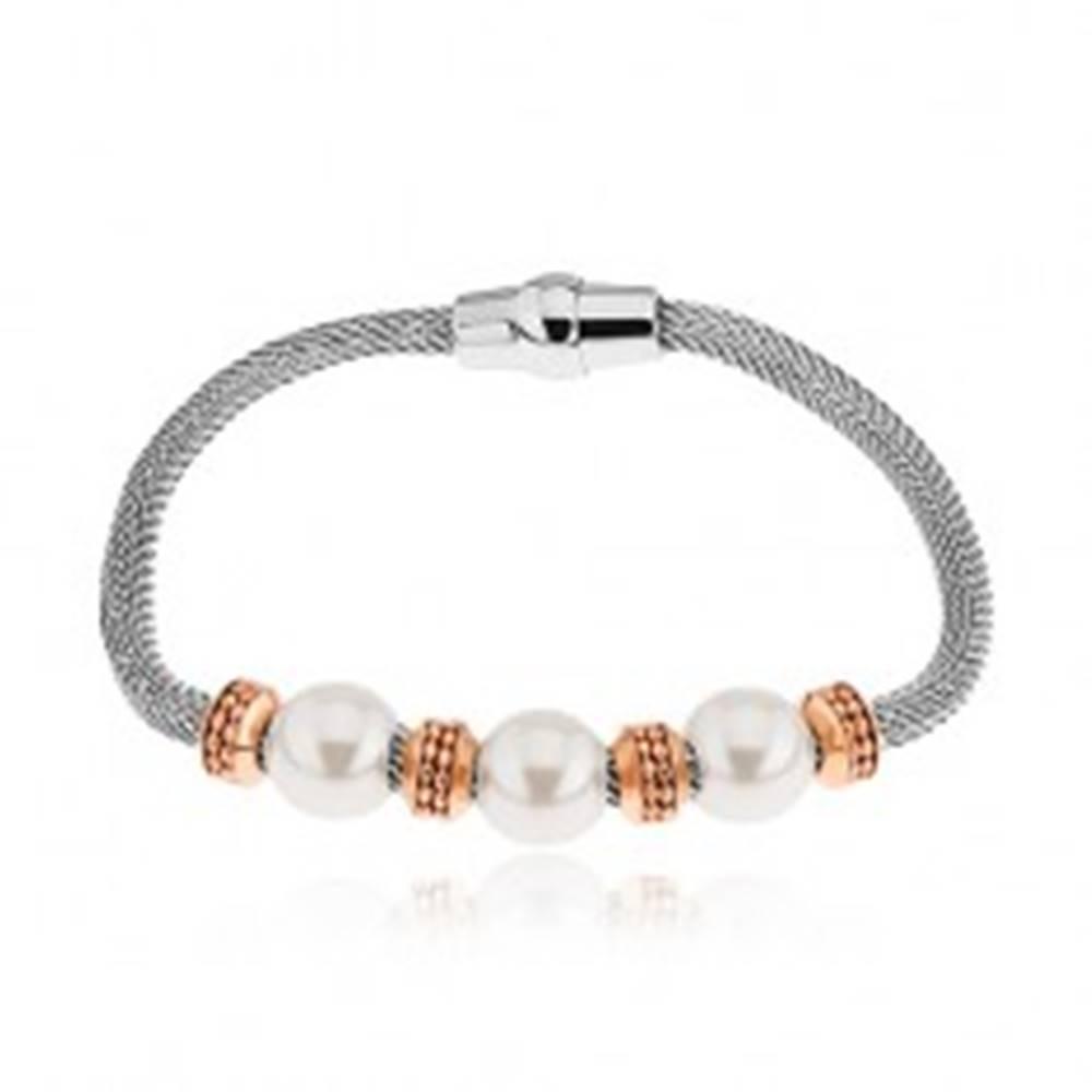 Šperky eshop Oceľový náramok, kolieska v medenom odtieni, korálky s perleťovým leskom