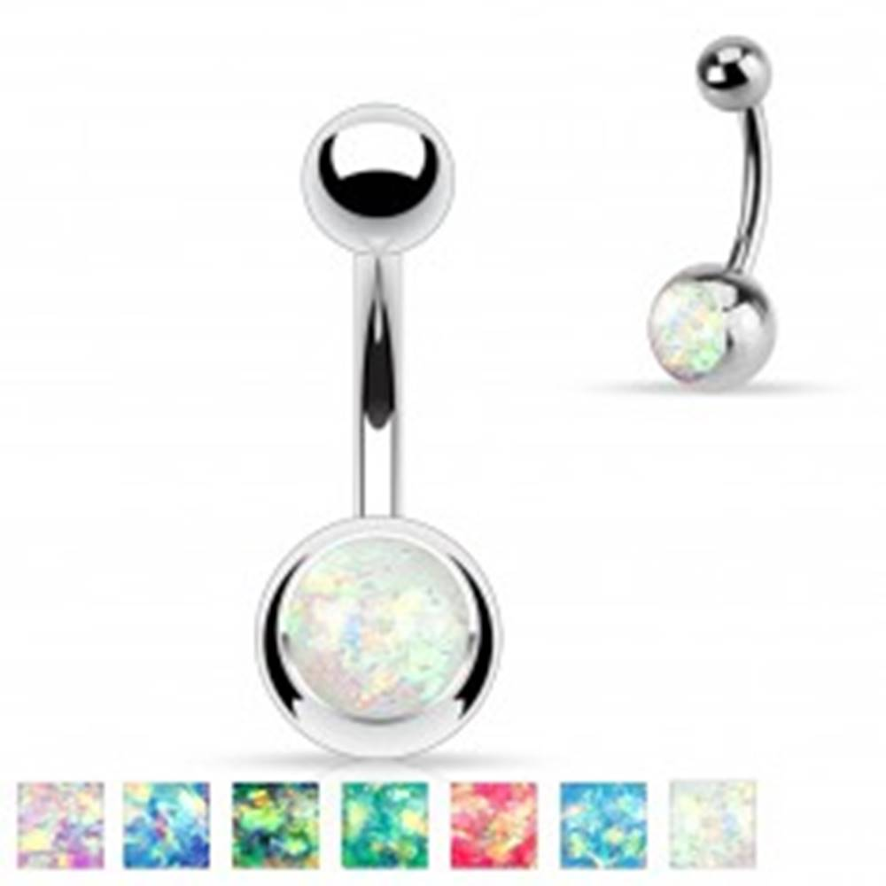 Šperky eshop Oceľový piercing do brucha striebornej farby, gulička s imitáciou opálu - Farba: Aqua modrá