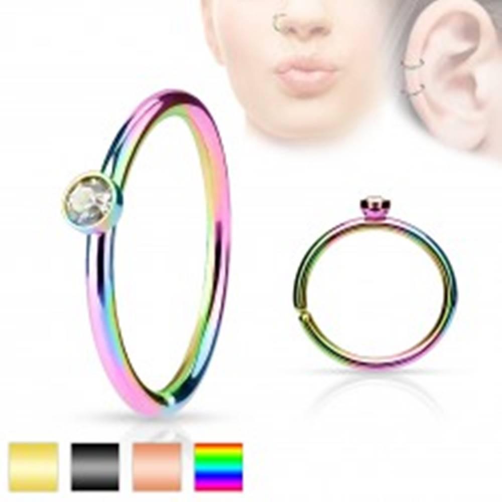 Šperky eshop Oceľový piercing, tenký lesklý krúžok zdobený drobným čírym zirkónom - Farba piercing: Čierna