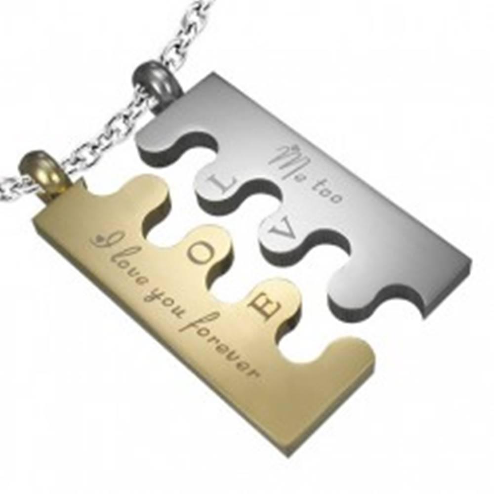 Šperky eshop Oceľový prívesok Puzzle, strieborno-zlatá farba