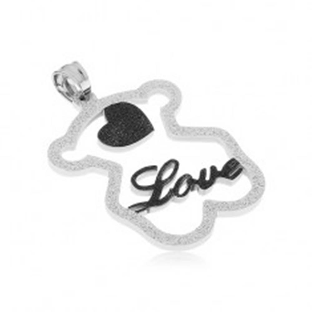 """Šperky eshop Oceľový prívesok - trblietavá silueta medvedíka, čierne srdiečko, nápis """"Love"""""""