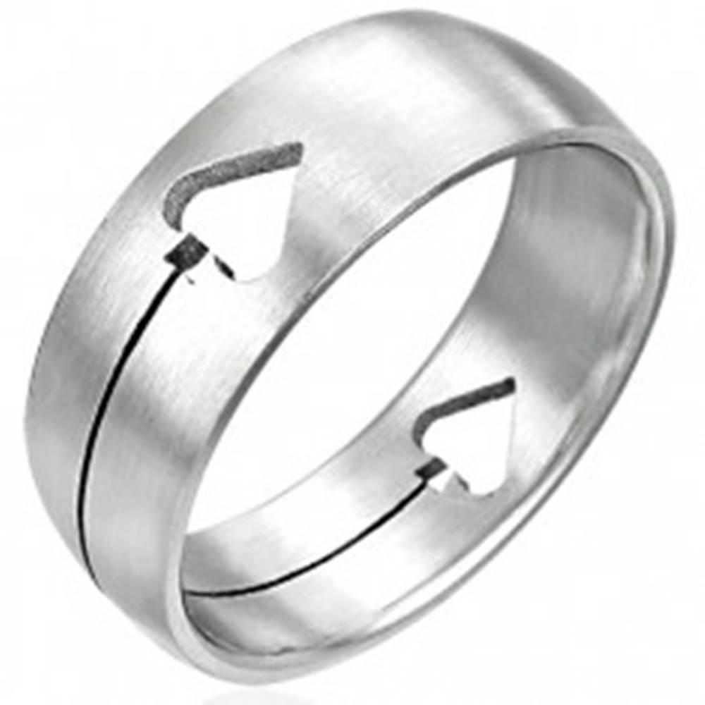 Šperky eshop Oceľový prsteň Pikový list - Veľkosť: 50 mm