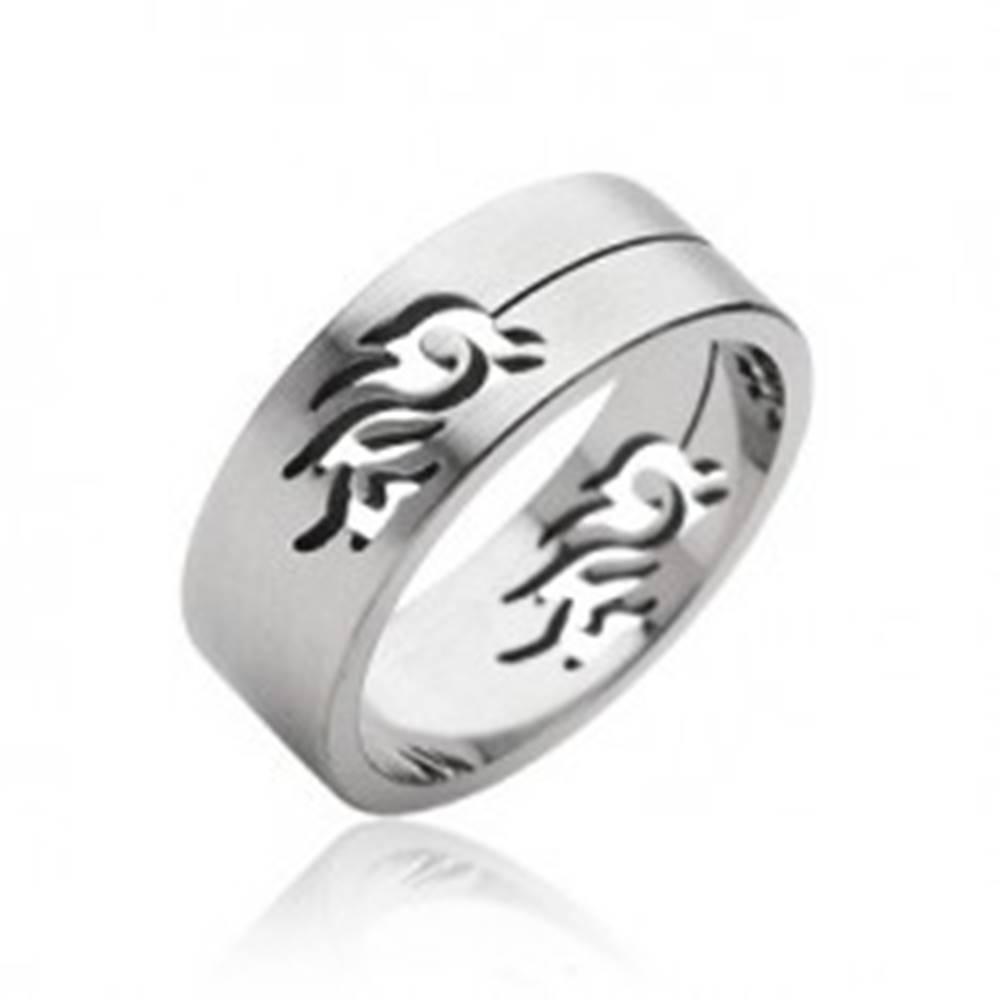 Šperky eshop Oceľový prsteň symbol Tribal - Veľkosť: 59 mm