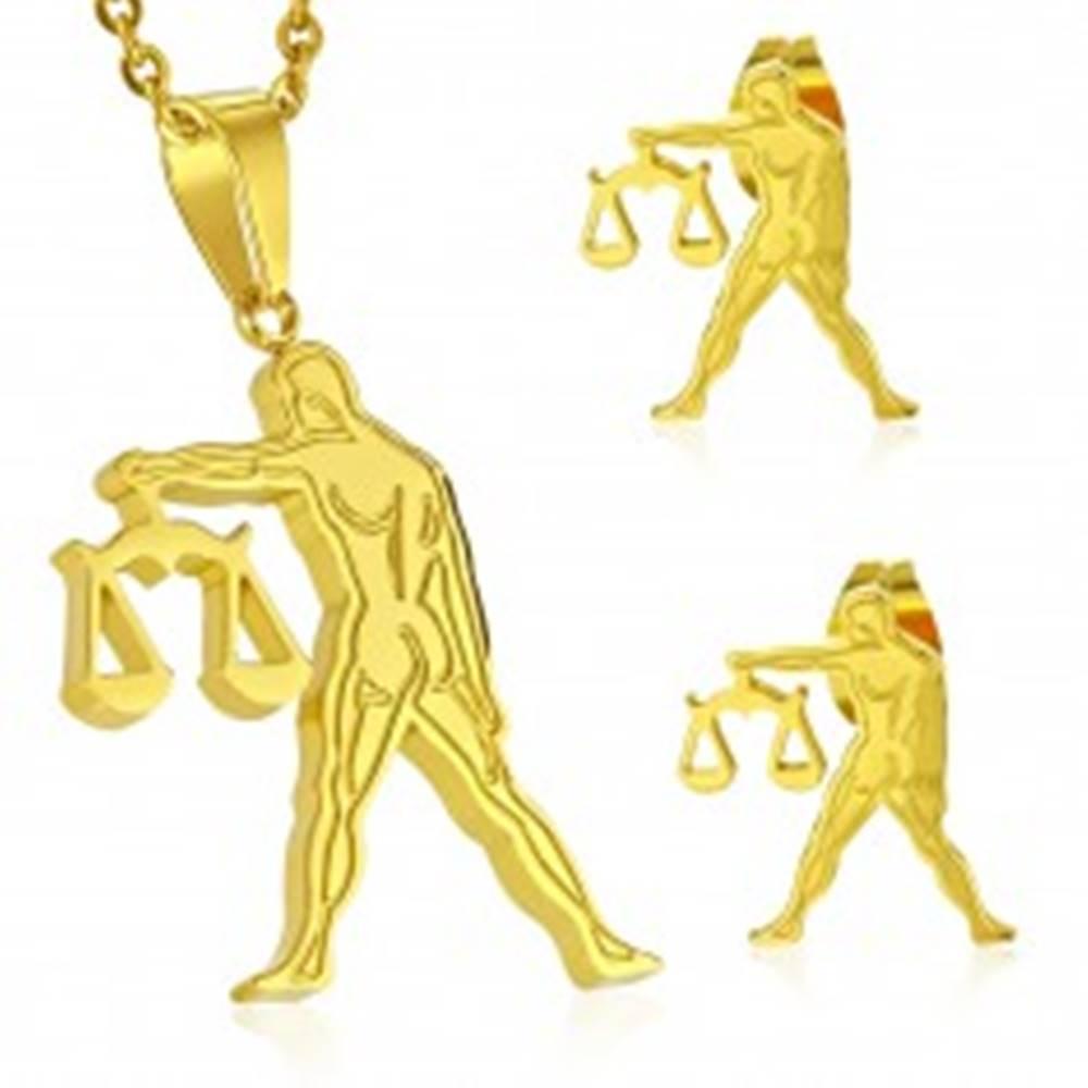 Šperky eshop Oceľový set zlatej farby - prívesok a puzetové náušnice, znamenie VÁHY