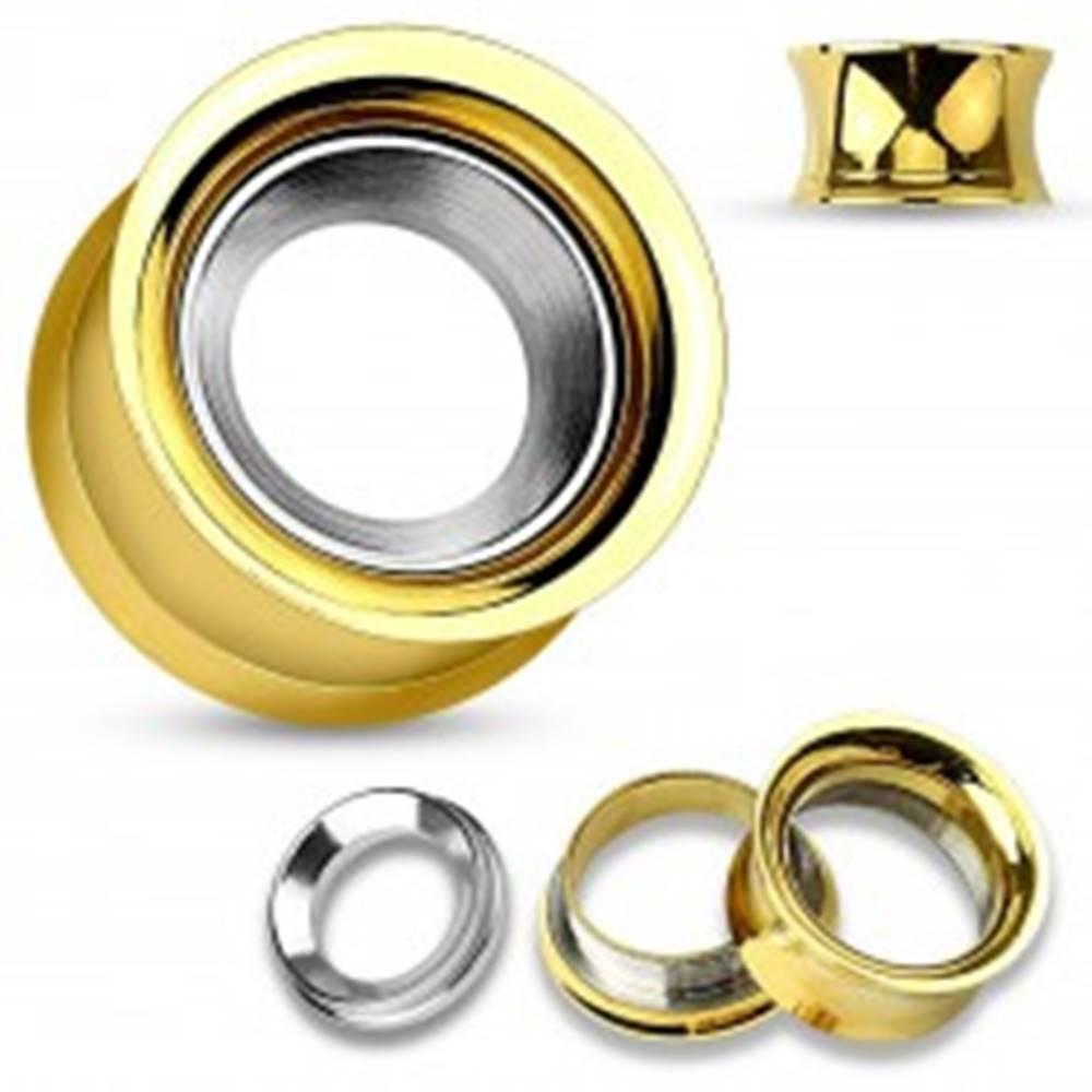 Šperky eshop Oceľový tunel do ucha zlatej farby s kruhom v striebornom odtieni, vysoký lesk - Hrúbka: 10 mm