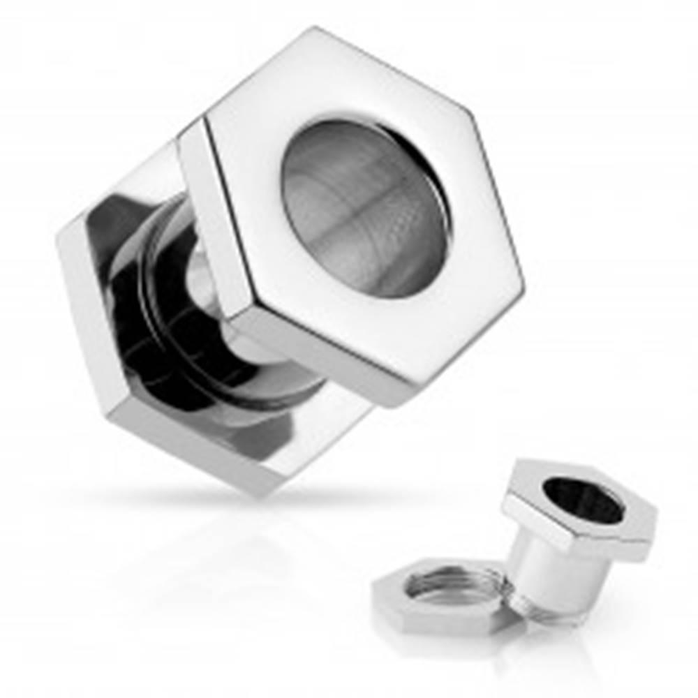 Šperky eshop Oceľový tunel striebornej farby, skrutka, lesklý hladký povrch - Hrúbka: 10 mm