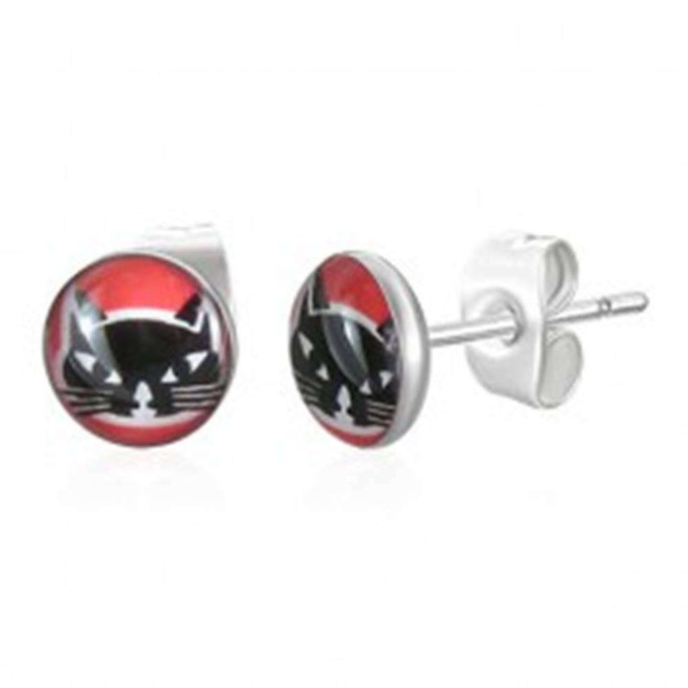 Šperky eshop Okrúhle oceľové náušnice - hlava čiernej mačky, červené pozadie