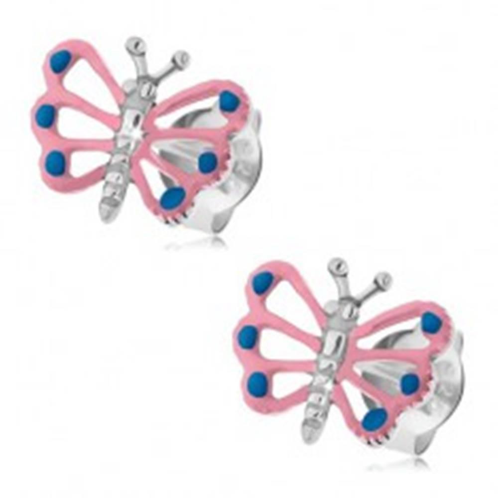 Šperky eshop Patinované náušnice, striebro 925, motýlik so svetloružovými krídlami, výrezy