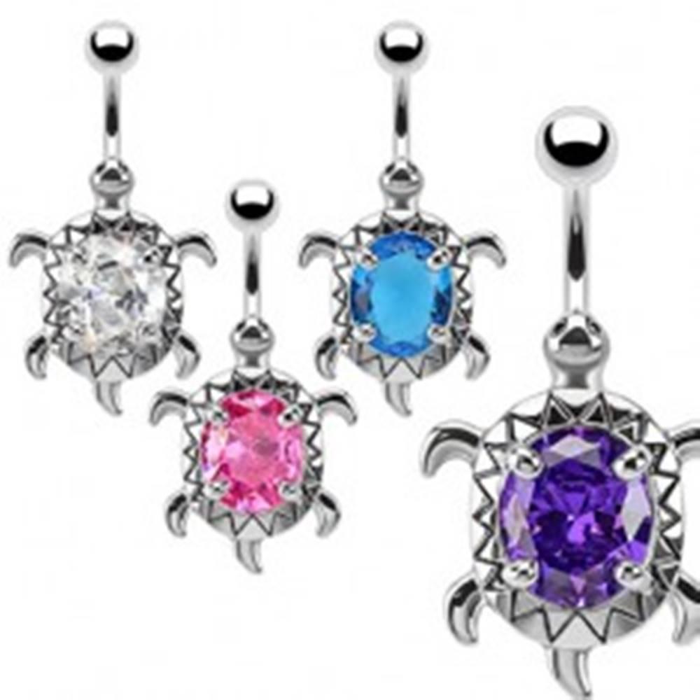 Šperky eshop Piercing do bruška z chirurgickej ocele s korytnačkou, zirkón - Farba zirkónu: Aqua modrá - Q
