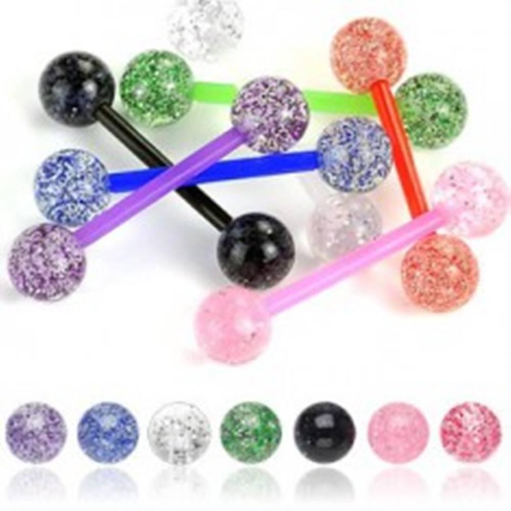 Šperky eshop Piercing do jazyka gulička glitre - Farba piercing: Červená
