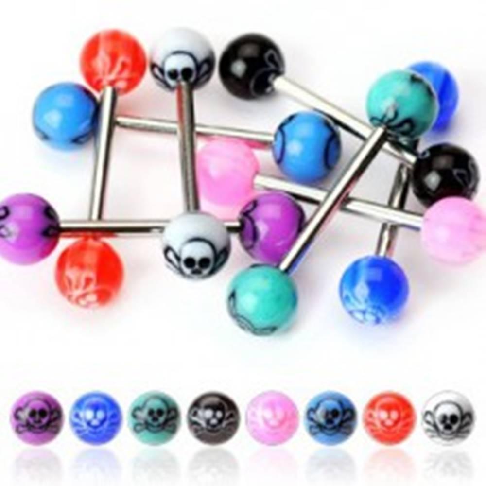 Šperky eshop Piercing do jazyka - lebka na guličke - Farba piercing: Biela - Čierna
