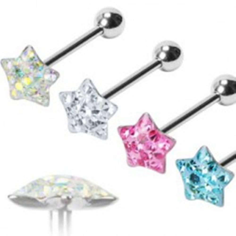 Šperky eshop Piercing do jazyka Puffy Star - Farba piercing: Aqua