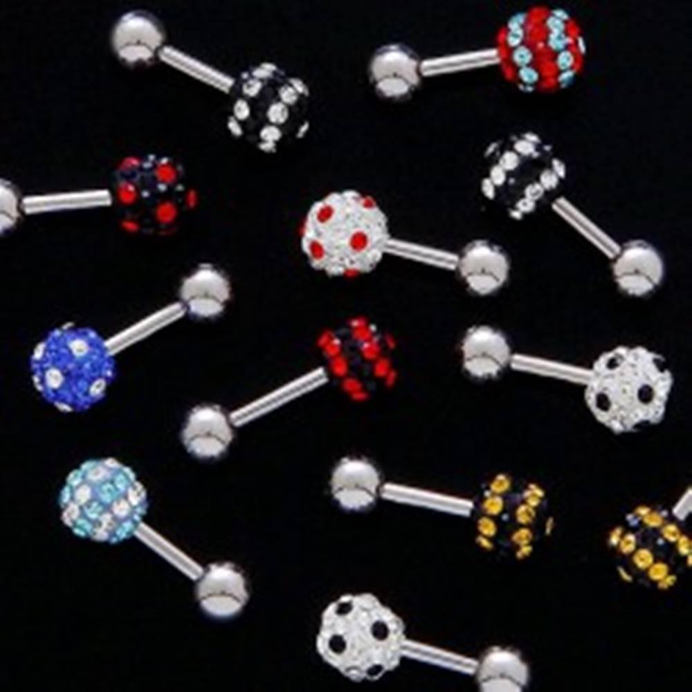 Šperky eshop Piercing do tragusu - zirkónová guľa - Farba zirkónu: Aqua - červená