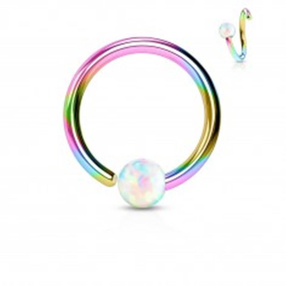 Šperky eshop Piercing z chirurgickej ocele, lesklý dúhový krúžok s opálovou guličkou - Hrúbka x priemer x veľkosť guličky: 0,8 x 10 x 2 mm