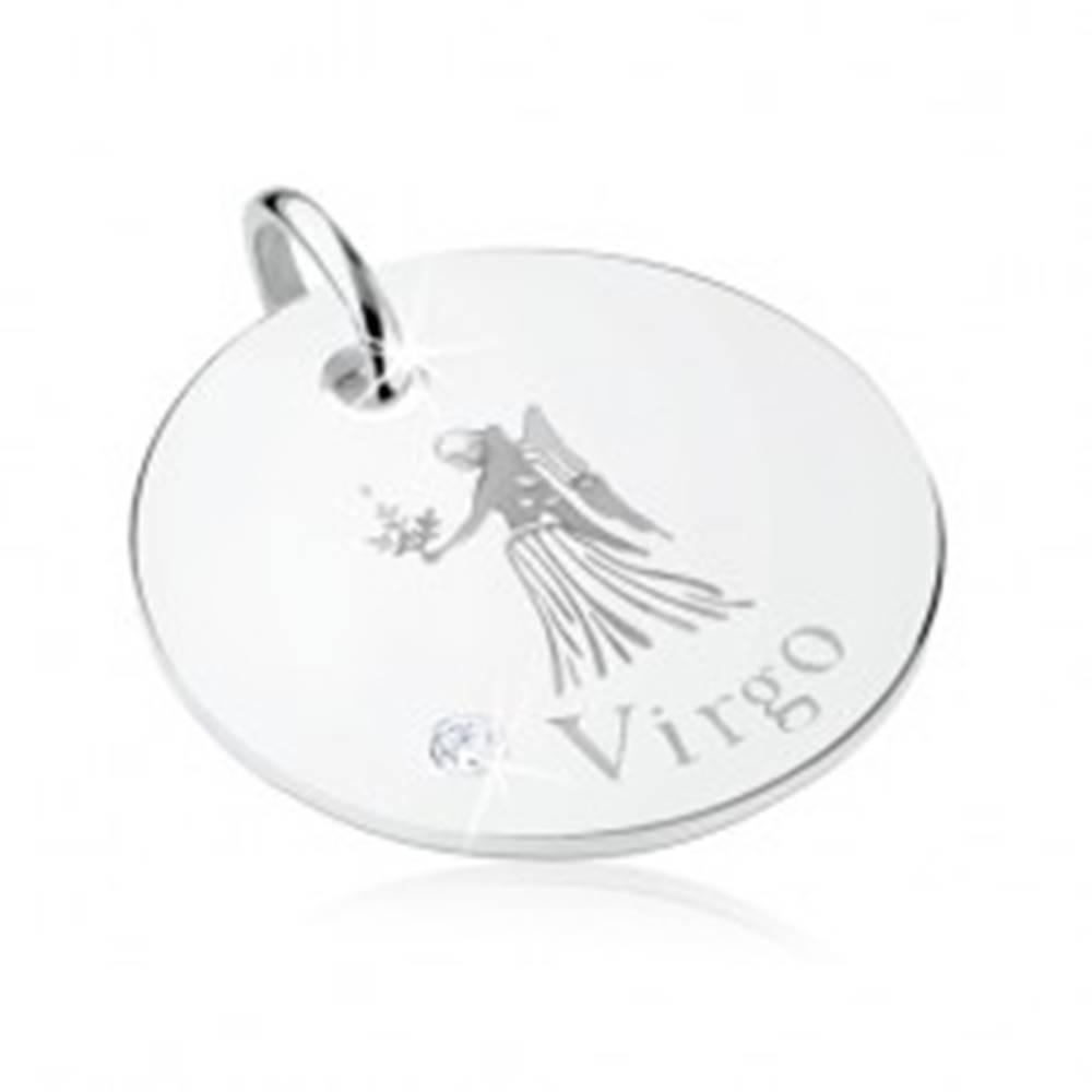Šperky eshop Plochý a okrúhly prívesok, striebro 925, znamenie PANNA, ligotavý zirkón