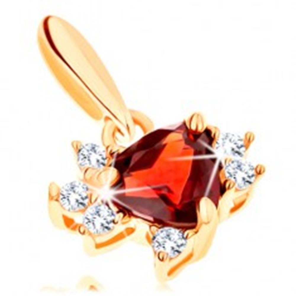 Šperky eshop Prívesok v žltom 14K zlate - trojuholník z granátu s čírymi zirkónikmi