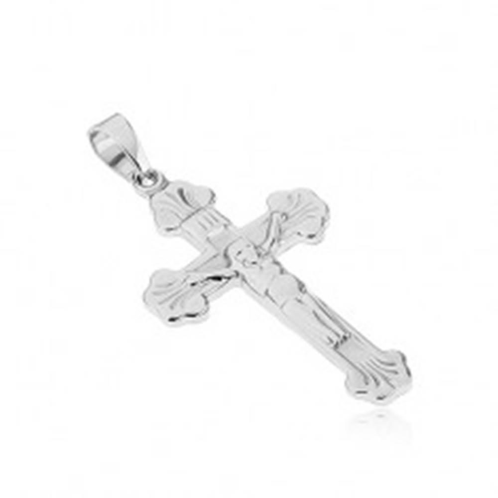 Šperky eshop Prívesok z chirurgickej ocele - barličkový kríž s ukrižovaným Kristom