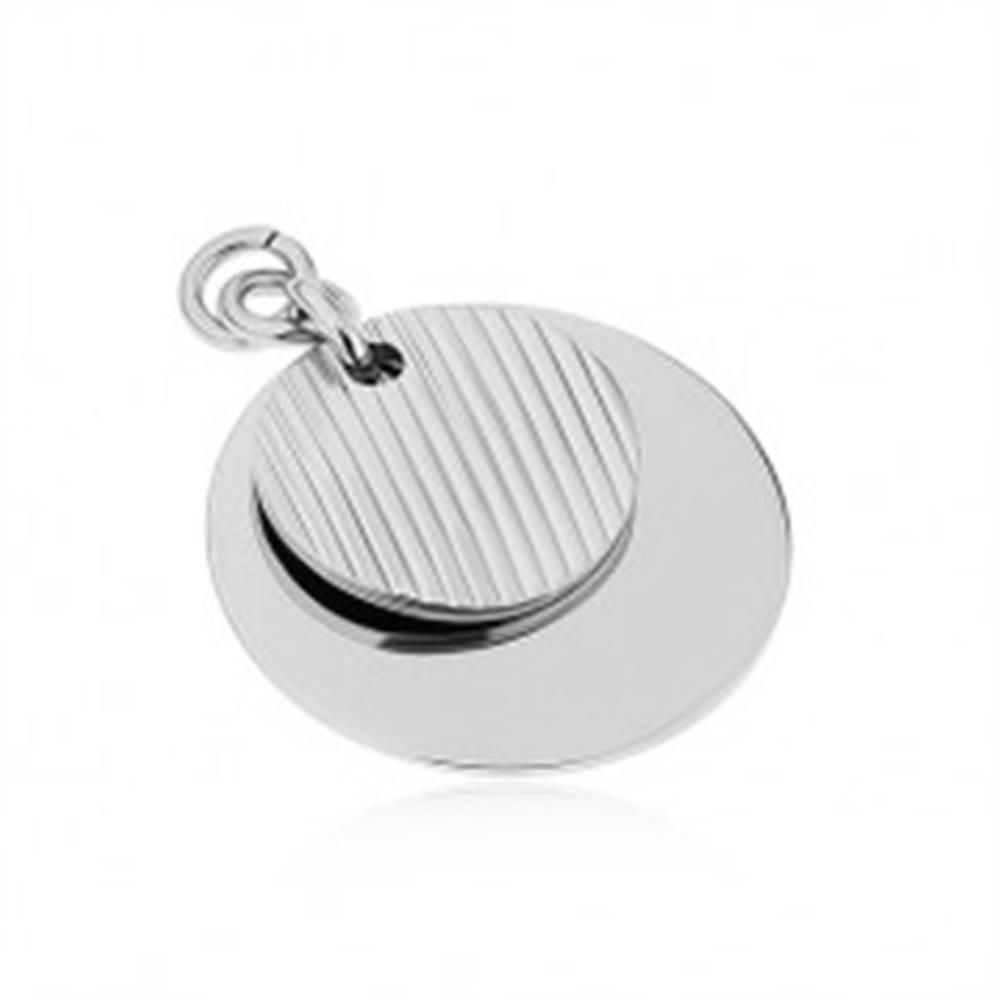 Šperky eshop Prívesok z chirurgickej ocele, strieborná farba, dva lesklé kruhy, zárezy