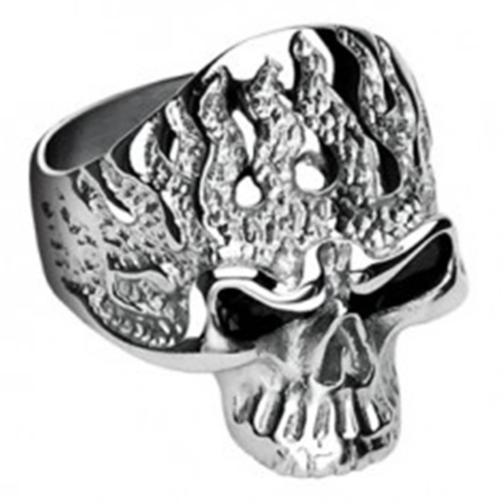 Šperky eshop Prsteň z chirurgickej ocele, lebka s plameňmi - Veľkosť: 60 mm