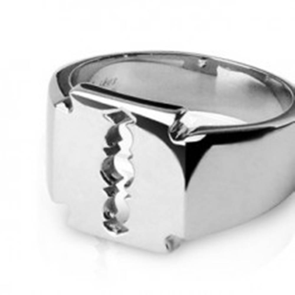 Šperky eshop Prsteň z chirurgickej ocele - žiletka - Veľkosť: 59 mm