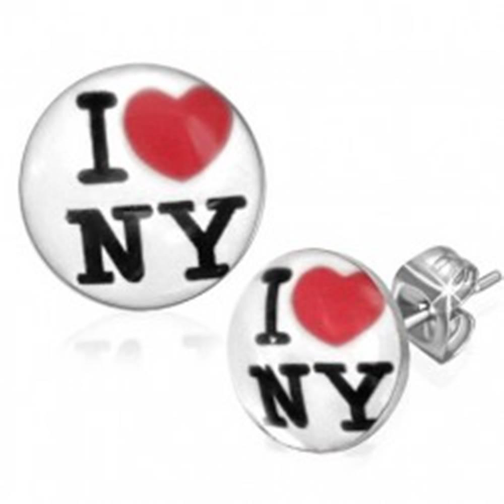 Šperky eshop Puzetové náušnice z chirurgickej ocele - biele kruhy, I love NY