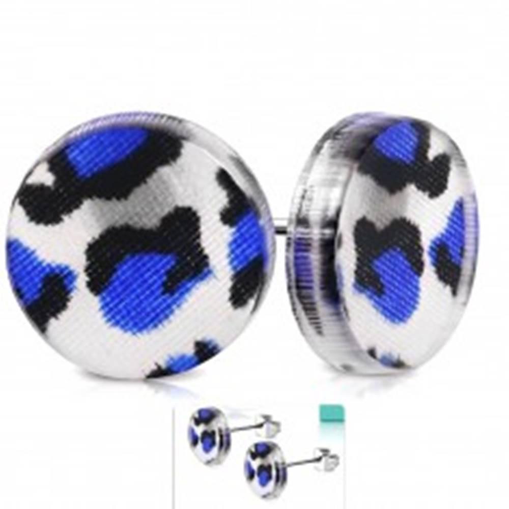 Šperky eshop Puzetové náušnice z ocele 316L, kruh z akrylu s modro-čiernym leopardím vzorom