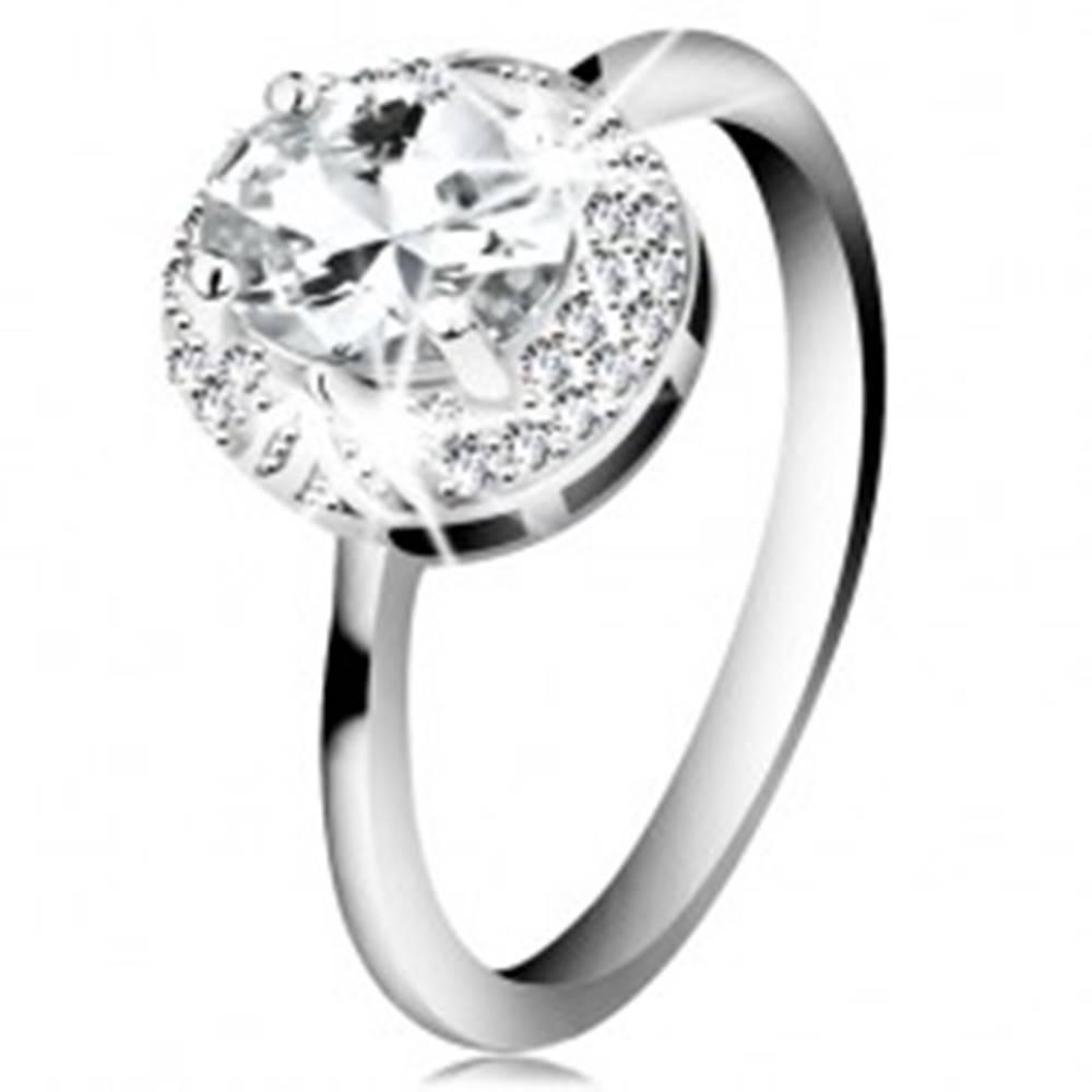 Šperky eshop Ródiovaný prsteň zo striebra 925, veľký číry zirkónový ovál, lístočky - Veľkosť: 49 mm