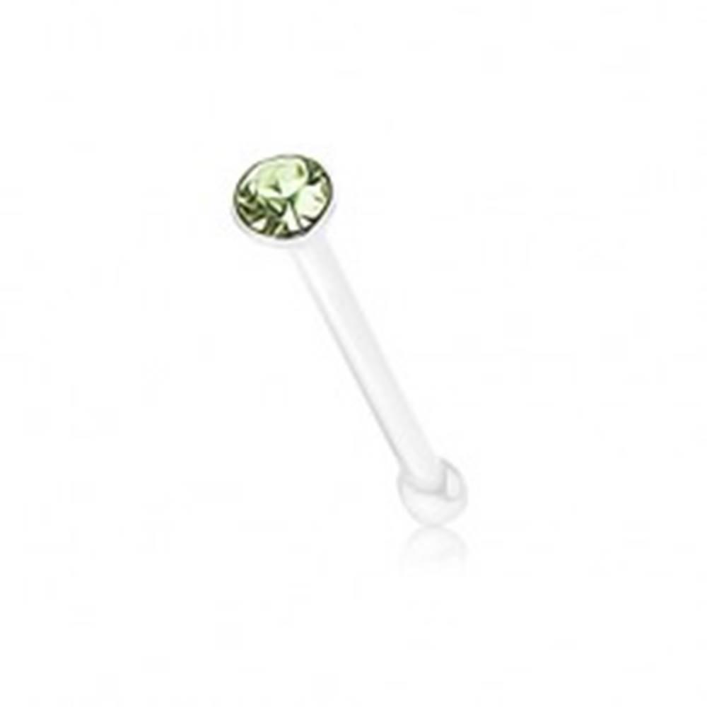 Šperky eshop Rovný piercing zo striebra 925, okrúhly ligotavý zirkónik zelenej farby