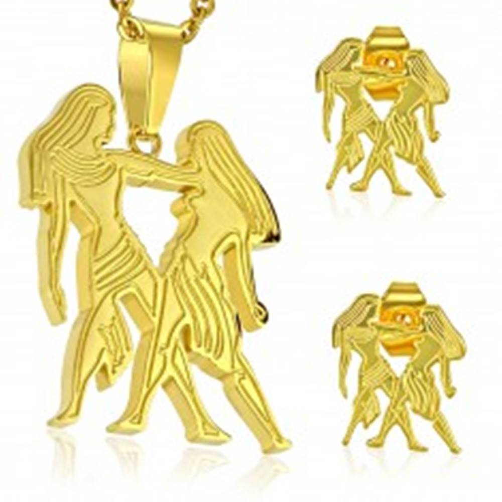 Šperky eshop Set z chirurgickej ocele v zlatom odtieni, prívesok a náušnice, znamenie BLÍŽENCI