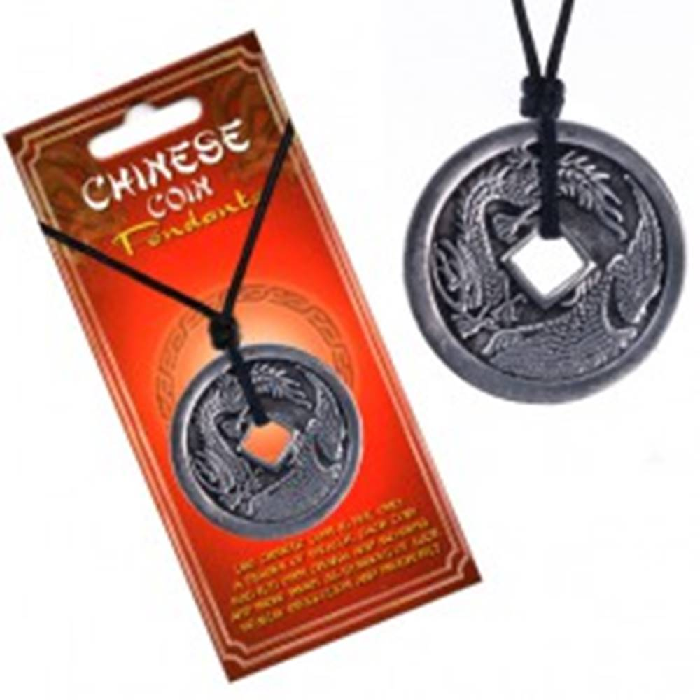 Šperky eshop Šnúrkový náhrdelník, minca s čínskym drakom a pelikánom