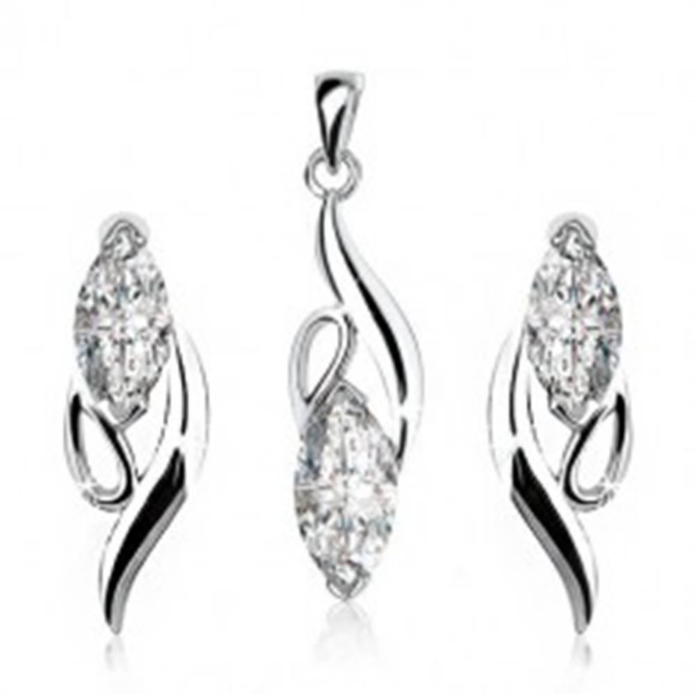 Šperky eshop Strieborná sada 925 - náušnice, prívesok, číry zirkónový ovál, zaoblené línie