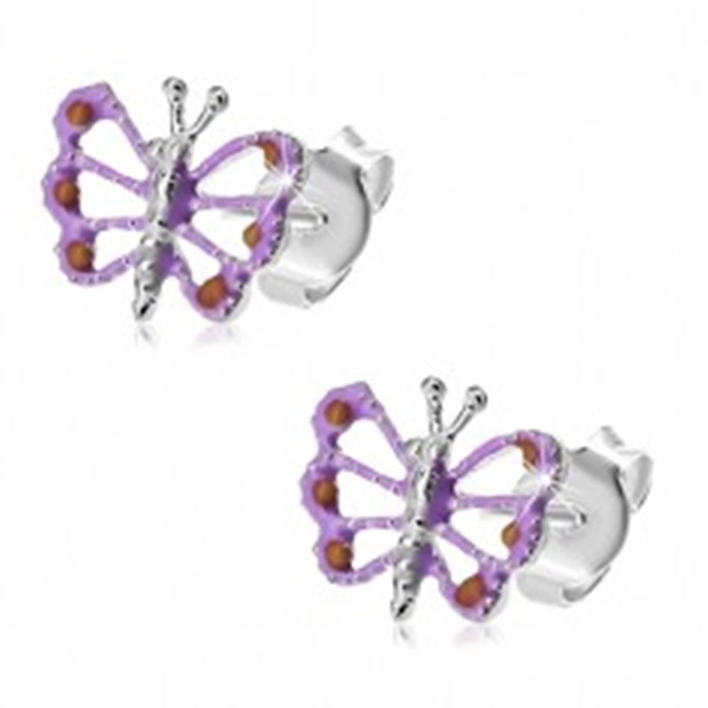Šperky eshop Strieborné 925 náušnice, fialovo-oranžový motýlik s vyrezávanými krídlami