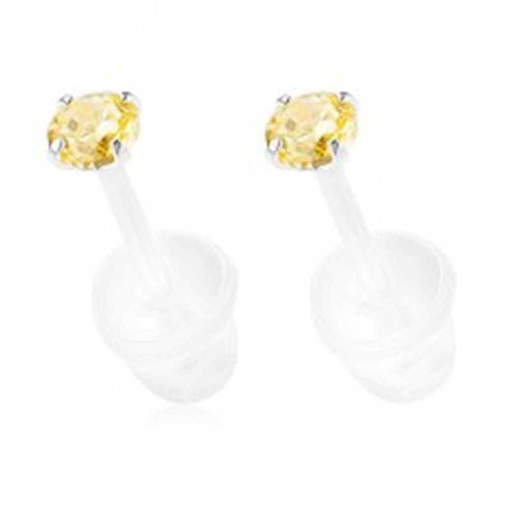 Šperky eshop Strieborné puzetové náušnice 925, okrúhly zirkón žltej farby, 2,5 mm