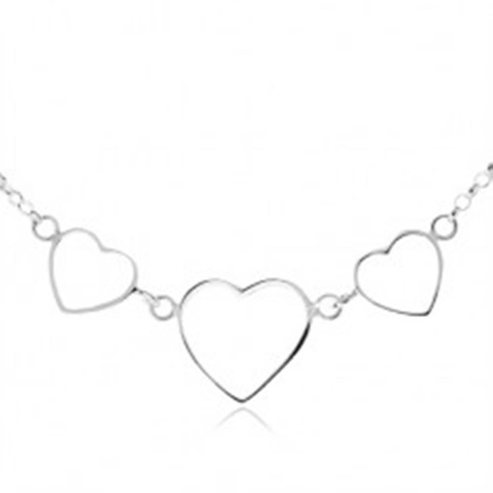Šperky eshop Strieborný 925 náhrdelník - tri kontúry symetrických sŕdc, retiazka