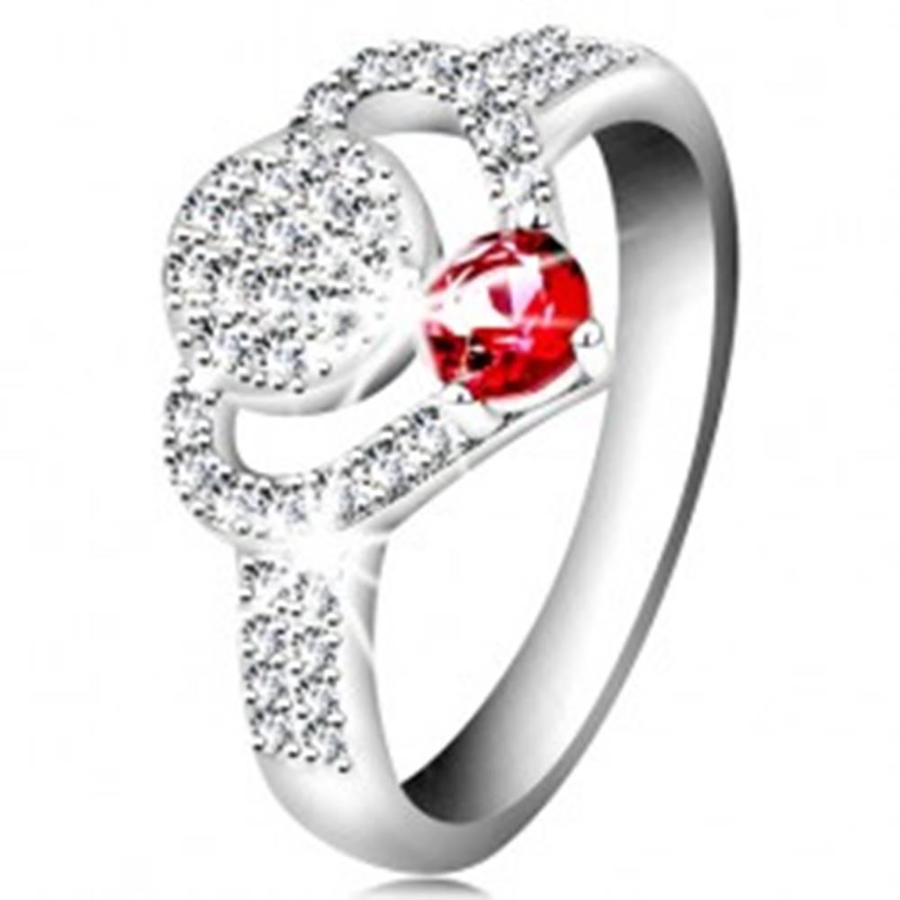 Šperky eshop Strieborný 925 prsteň, číry zirkónový obrys srdca, kruh a ligotavý ružový zirkón - Veľkosť: 55 mm