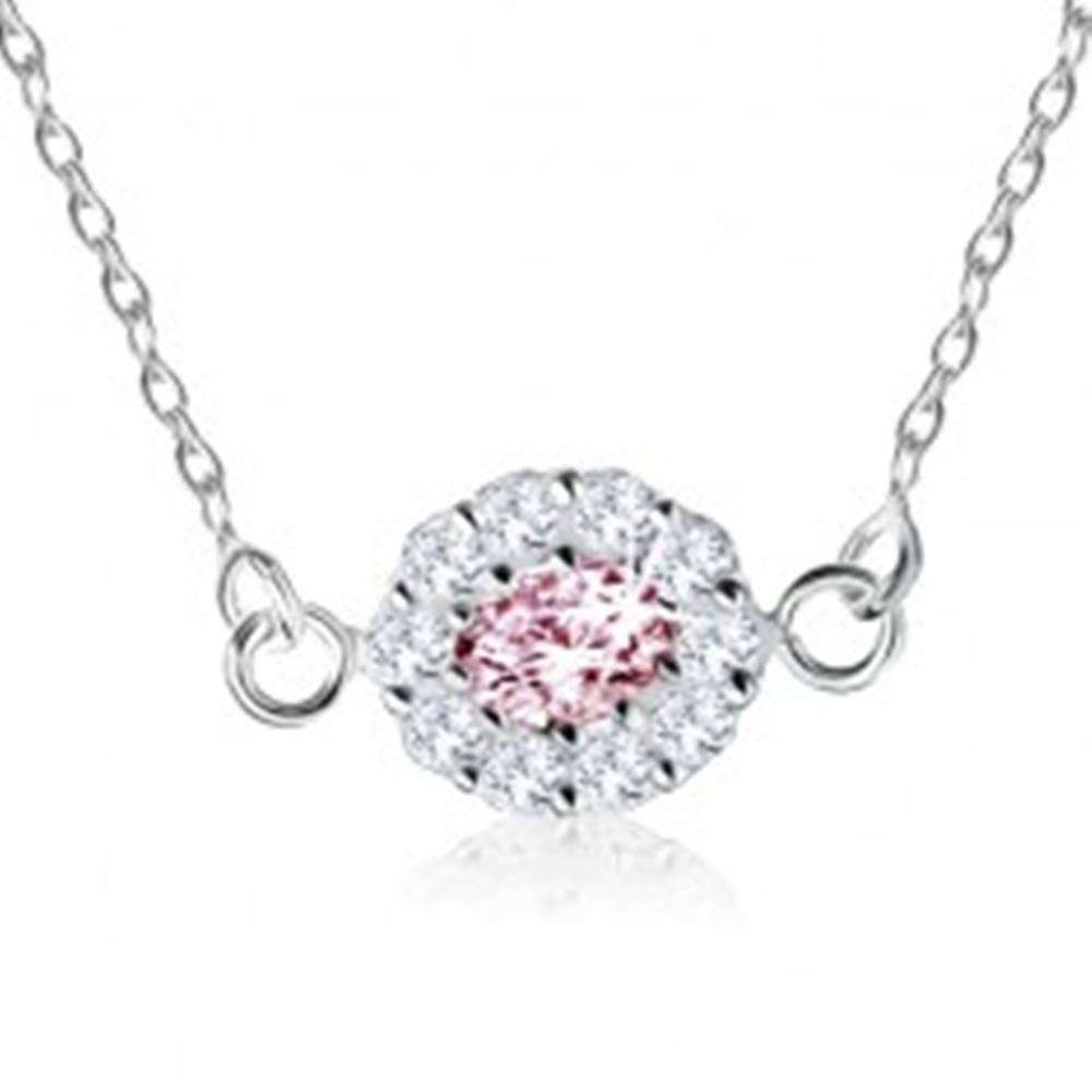 Šperky eshop Strieborný náhrdelník 925, ružový zirkónový ovál lemovaný čírymi kamienkami